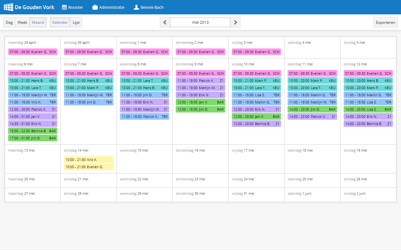 Rooster delen direct via pdf en excel met bedrijfsrooster for Planning maken