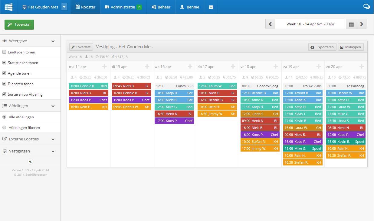 Personeelsplanning bedrijfsrooster for Planning maken